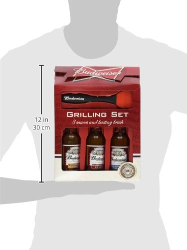 Budweiser 3 BBQ Sauces Grilling Set With Basting Brush 16.5 Ounce