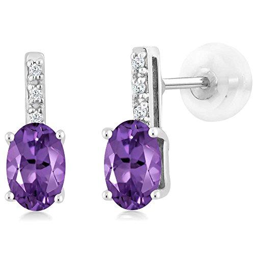 14K White Gold Oval Purple Amethyst Stud Diamond Women's Stud Earrings 0.73 Cttw 6X4mm Oval