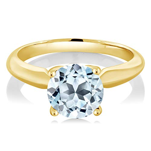 Gem Stone King 2.50 Ct Round Sky Blue Topaz 18K Yellow Gold Plated Silver Ring
