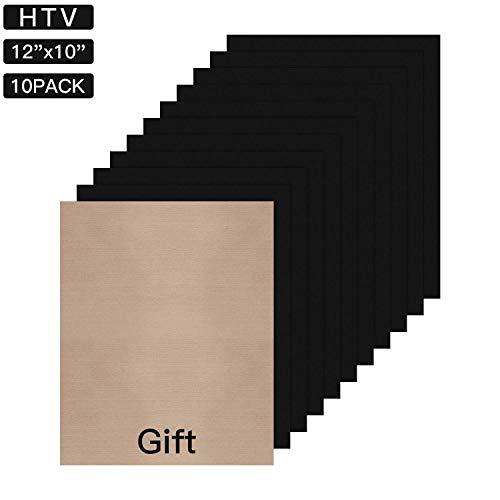 (JANDJPACKAGING Black Heat Transfer Vinyl for T- Shirts- 10 Sheets,10