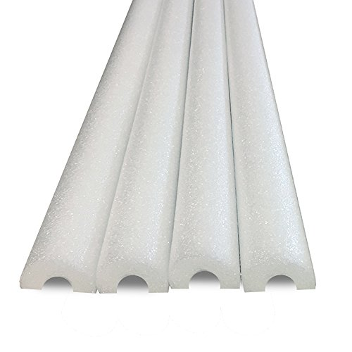 Honor Traders Half Foam Noodles for Padding or Bumper -for Edges, Wall and Sealing Gaps - 4 Pack White