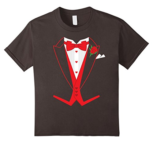 [Kids Valentine's Day Costume Red Bow Tie Tailcoat Tuxedo T-Shirt 10 Asphalt] (Womens Tailcoat Costume)