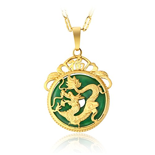 MCSAYS Chinese AAA Tibet Gold Green Jade Dragon Malay Jade Pendant Necklace & Pendants Pendent Gift