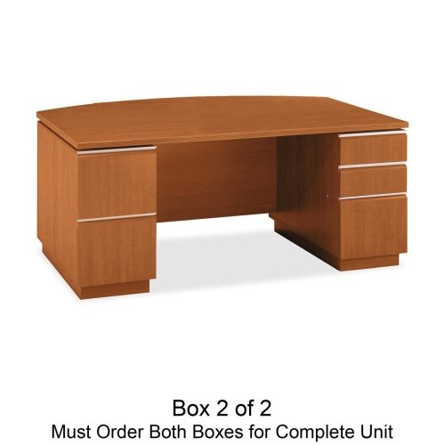 bbf Milano 2 Series Bow Front Pedestal Desk Box 2 of 2 - 71.12'' Width x 36.12'' Depth x 29.62'' Height - 3 x File Drawer(s) - Bbf Pedestal