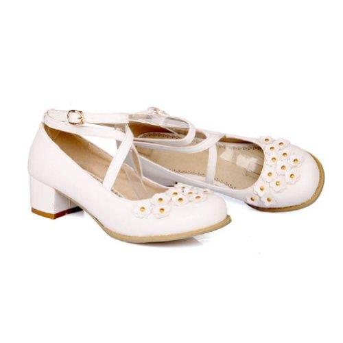 Charm Foot Fashion Applique Womens Mid Heel Pumps Shoes White Qf9lMYa