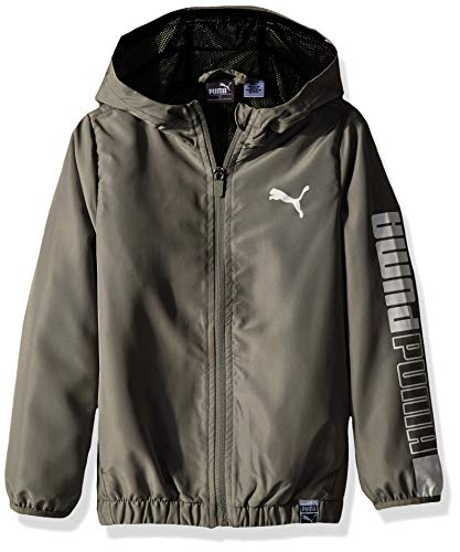Puma Windbreaker Jacket - PUMA Big Boys' Windbreaker, Limestone Large (14/16)