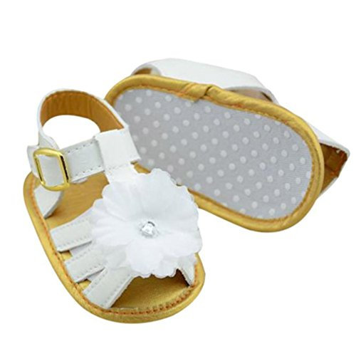 Creazy® Baby Infant Girls Leather Flower Crib Soft Sole Flat Sandals (11)