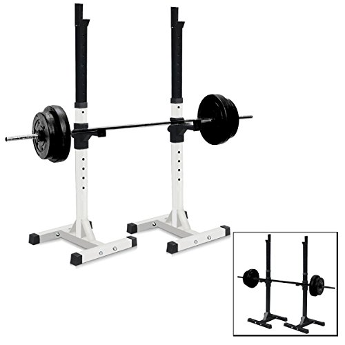 Sportmad Pair Of Dumbbell Rack Adjustable Standard Solid Sturdy Steel Squat Stands Barbell Bench Free Press Portable For Home Gym Exercise
