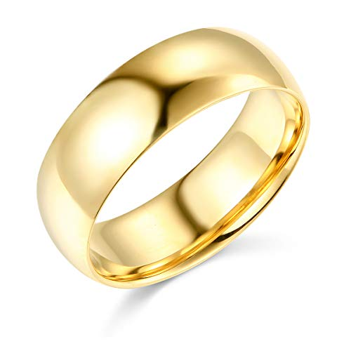 (Wellingsale Mens 14k Yellow Gold Solid 7mm CLASSIC FIT Traditional Wedding Band Ring - Size 9)