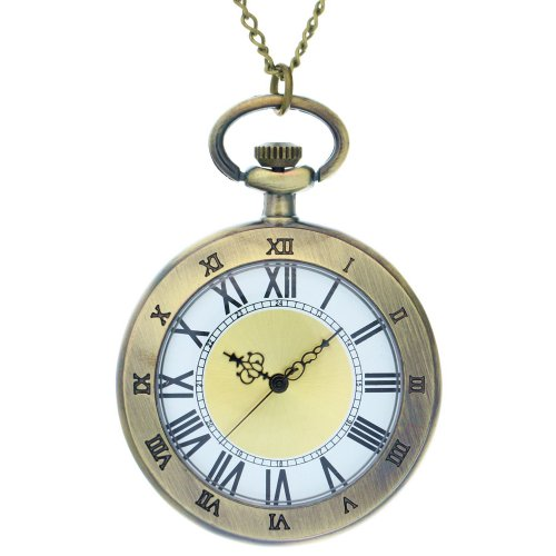 Face Pocket Watch Chain (FobTime Vintage Dual Display Roma Pocket Watch Long Chain Open Face Noble Unisex Quartz Watch)
