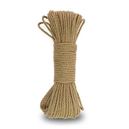 65 Feet 3-Ply Natural Strong Jute Twine String Thick Jute Rope Hemp Rope Jute Cord for DIY Crafts Garden Packing and Gift Wrapping(4 mm) (Thick String)