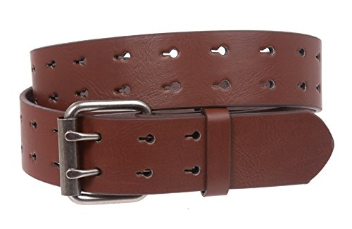 - Snap On Two Row Cut-out Holes Leather Belt, Brown | XL - 42