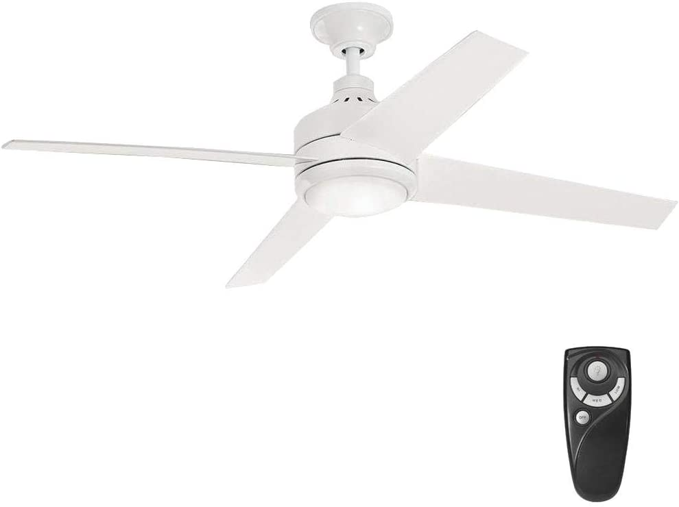 Home Decorators Collection Mercer 52 in. Integrated LED Indoor White Ceiling Fan