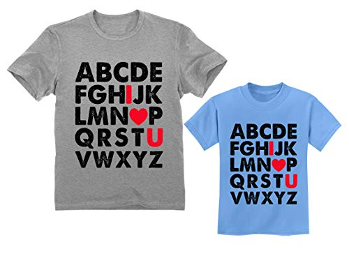 0ff087fa Father & Daugher/Son Matching T-Shirt Valentines Day Alphabet ABC I Love You