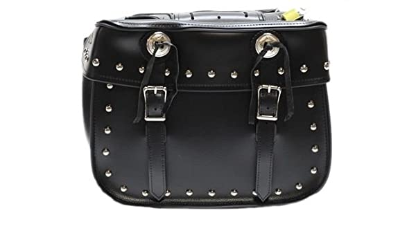 dee2dd90dd Amazon.com  Billys Biker Gear Universal Studded Motorcycle Saddlebags With  Conchos  Automotive