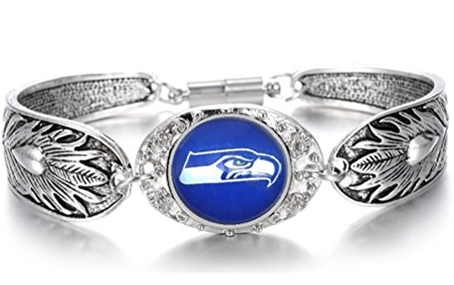 Devastating Designs Women's Men's Tibetian Sterling Silver Seattle Seahawks Bracelet Football Gift ()