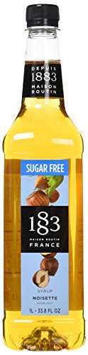 1883 Maison Routin - Hazelnut SugarFree Syrup - Made in France - Pet Bottle | 1 Liter (33.8 ounces)