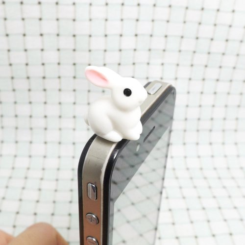 ZOEAST Lovely Animal World White Rabbit Little Deer Pegasus White Whale Swan Yellow Duck Honeybee Ram White Sheep Cow Zebra Elephant Resin Animal Dust Plug 3.5mm Phone Accessory Cell Phone Plug iPhone Dust Plug Samsung Plug Phone Charm Headphone Jack Earphone Cap Ear Cap Dust Plug (White Rabbit) - Rabbit Dust