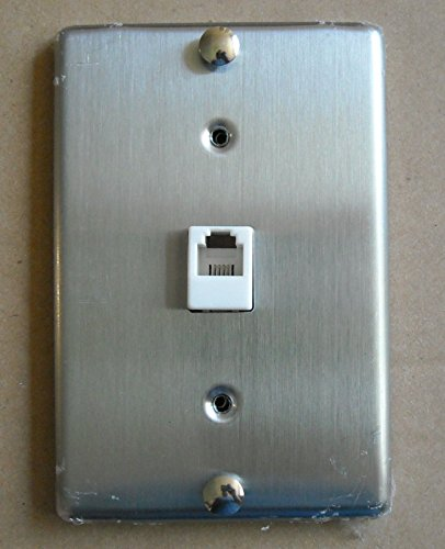 TEL PHONE 4C JACK MODULAR HANGING WALL MOUNT STAINLESS STEEL COVER PLATE