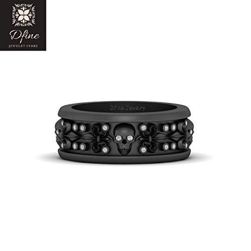 Vvs1 Eye - Diamond Skull Band Royal French Flower Fleur De Lis Gothic Spooky Mens Wedding Band Diamond Eyes Skull