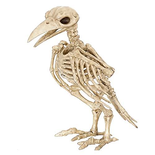 Skeleton Raven, Bone Color Skeleton Raven100% Plastic Animal Skeleton Bones for Horror Creepy Halloween Decoration Event & Party Supplies -