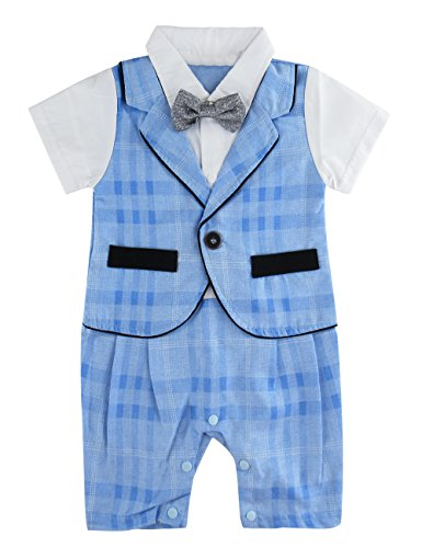 A&J DESIGN Baby Boys' Gentleman Tuxedo Rompers with Bowtie (12-18 Months, Blue ()