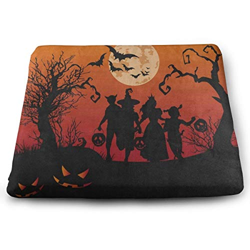 Ladninag Seat Cushion Halloween Witch Bat Full Moon Pumpkin Chair Cushion Cool Offices Butt Chair Pads for Kitchens]()