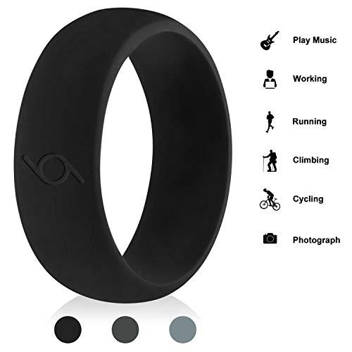 CalMyotis Silicone Wedding Ring for Men, Silicone Rubber Bands - Step Edge Sleek Design - Black, Dark Grey, Luxurygrey, Black/Logo Outside, 10.5-11(20.7mm)