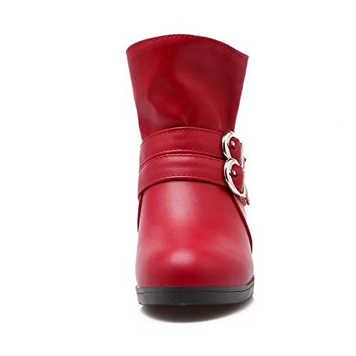 Boots Heels AgooLar Solid Round Pull Toe Red PU On Low Women's fwxgzW1wR