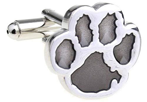 - MRCUFF Cub Paw Print Bear Tiger Dog Grey Gray Pair Cufflinks in a Presentation Gift Box & Polishing Cloth