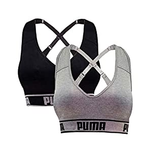 PUMA Women's Seamless Sports Bra Removable Cups – Adjustable Straps Moisture Wicking (2 Pack)
