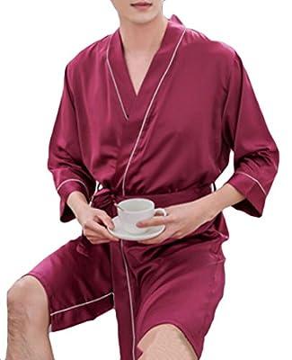 XiaoTianXin-men clothes XTX Men's Robe Silk Spa Striped Lightweight Kimono Sleepwear Bathrobe