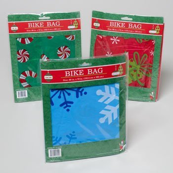 1 Plastic Christmas/Holiday Bike Gift Bag, 60x72