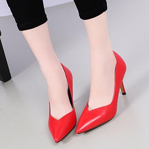 KHSKX-Pendler - / Port 8Cm Mit Spitze Hochhackige Schuhe Beruf Passt Flach In Den Mund Der Rote Wedding Schuhe gules