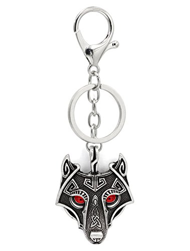 (Viking Odin Wolf Pendant Key Rings Key Chains Red Ruby Eyes Antique Silver Metal Scandinavian Knot Raven Mjolnir Norse Celtic Nordic Rune Talisman Saxon)