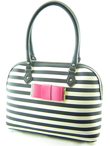 Betsey Johnson Stripe Bow Dome Satchel Handbag Black Creme from Betsey Johnson