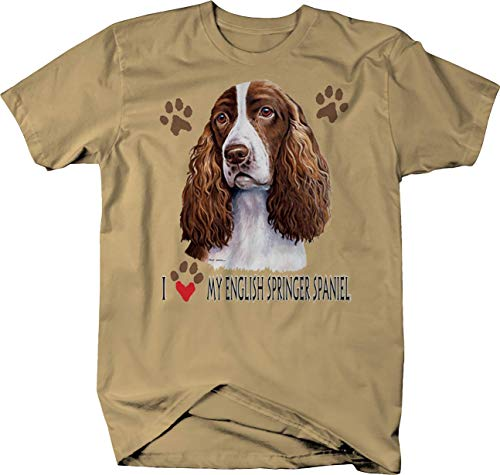 (I Love My English Springer Spaniel Dog with Paw Prints Custom Tshirt - Large )