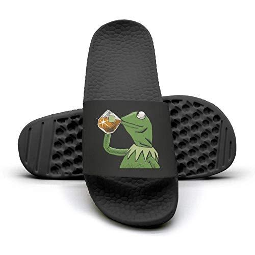 Mens Printed funny-green-frog-sipping-tea Non-slip black Slippers Slide Flip Flop Sandals Summer Outdoors Indoors
