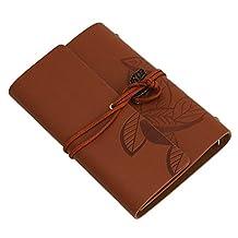 Vintage Notebook Diary String Leaf Travel Leather Paper Journal Book Sketchbook (Khaki)