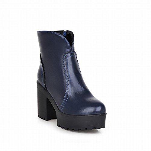 Carolbar Womens Zipper Retro Vintage Fashion Simple Platform High Heel Short Boots Blue q1h4I