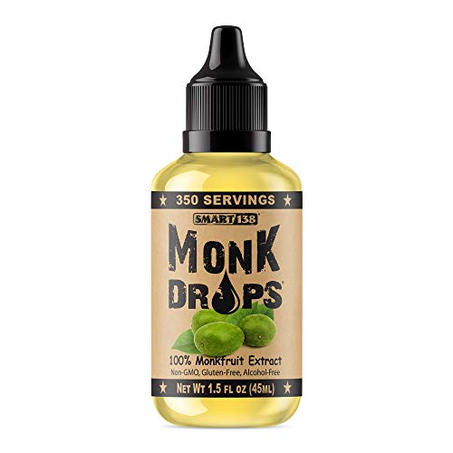 Monk Drops - 100% Monkfruit Liquid Sweetener, Zero Glycemic, Zero Calories, Zero Sugar, No Added Water, Concentrated Monk Fruit (350 Servings) ()
