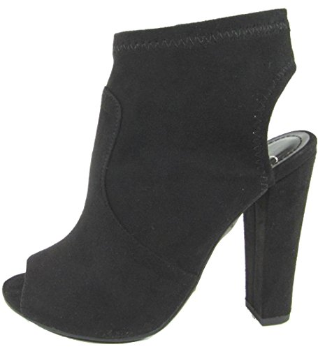 Delicious Peep Toe Open Back Heel Stacked Platform Chunky Heel Bootie (6 B(M) US, Black IMSU)