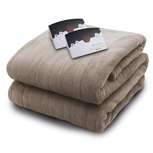 Biddeford 2023-905291-700 Electric Heated Knit MicroPlush Blanket, Queen, Taupe