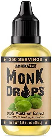 Monk Drops - 100% Monkfruit Liquid Sweetener, Zero Glycemic, Zero Calories, Zero Sugar, No Added Water, Concentrated Monk Fruit (350 Servings)