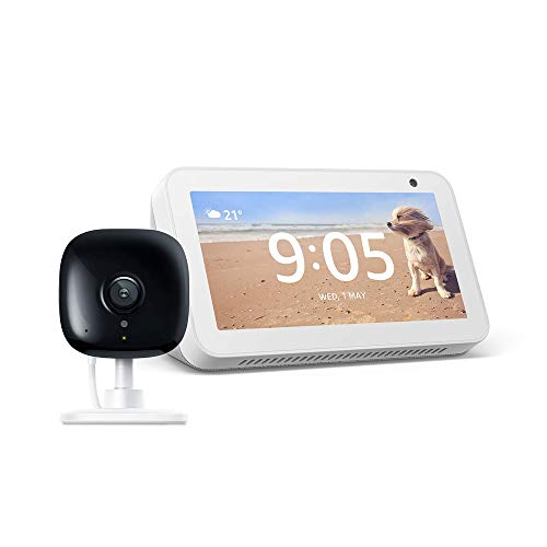 Echo Show 5 Sandstone with Kasa Indoor Smart Security Camera, 1080P HD with Night Vision