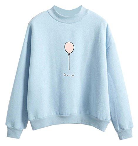 Fashiononly Sweatshirts Women Harajuku Sportswear Cropped Tops Hooded, Light Blue, Large