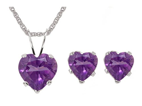 Antique Heart-Shaped Amethyst Pendant Necklace and Earrings Set Sterling Silver