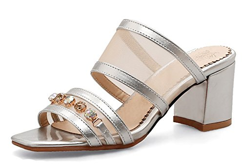 Aisun Women's Rhinestone Gauze Cutout Block Medium Heel Slip On Dressy Open Toe Slide Sandals Shoes (Silver, 10.5 B(M) US) by Aisun