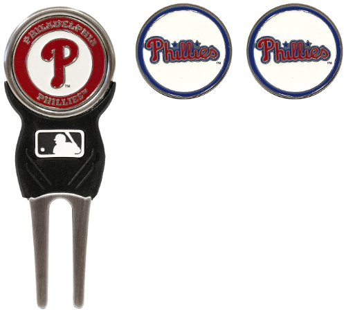 Team Golf MLB Philadelphia Phillies Divot Tool with 3 Golf Ball Markers Pack, Markers are Removable Magnetic Double-Sided - Phillies Mlb Golf Philadelphia