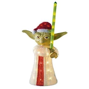 Kurt Adler UL 50-Light 28-Inch 3D Tinsel Yoda Lawn Decor